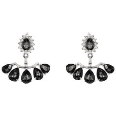 18 Karat Gold Black Rhodium and Diamond Jacket Earring