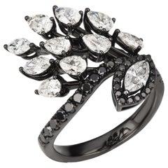 18 Karat Gold Black Rhodium Diamond Cocktail Ring
