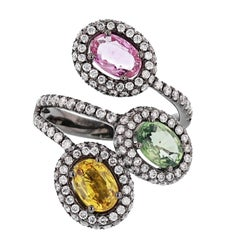 18 Karat Gold Black Rhodium Multi-Color Sapphires and Diamond Ring