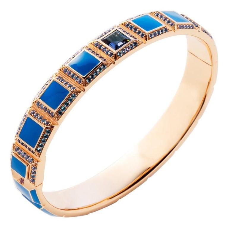 18 Karat Gold Blue Enamel Carousel Bracelet For Sale