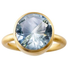 18 Karat Gold Blue Fluorite Green Quartz Two-Stone Modern Cocktail Ring 7-13