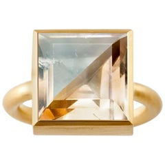 18 Karat Gold Blue Fluorite or Cognac Quartz Two-Stone Modern Cocktail Ring 7-13