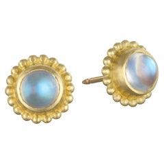 18 Karat Gold Blue Moonstone Stud Earrings with Granulation Border