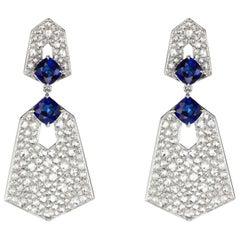 18 Karat Gold Blue Sapphire and Diamond Dangle Earring