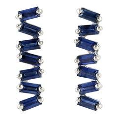 18 Karat Gold Blue Sapphire Baguette Stud Earrings