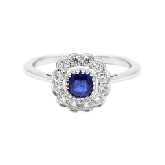 18 Karat Gold Blue Sapphire Cushion and Diamond Cluster Ring in Art-Deco Style