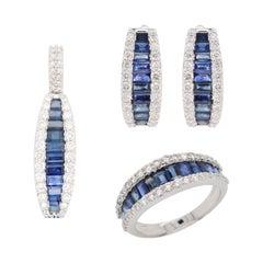 18 Karat Gold Blue Sapphire Diamond Huggies Pendant Necklace Earrings Ring Set