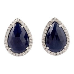 18 Karat Gold Blue Sapphire Diamond Pear Stud Earrings