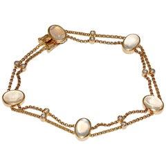 18 Karat Gold Bracelet by Lüth Luth Bijoux, Set with Moonstones and Diamonds