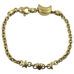18 Karat Gold Bracelet Moon Heart and Star