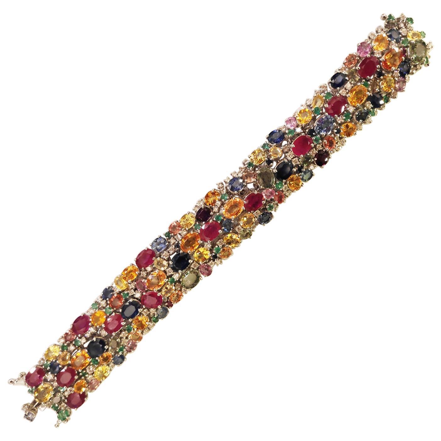 18 Karat Gold Bracelet Multicolored Sapphires, Emeralds, Rubies and Diamonds
