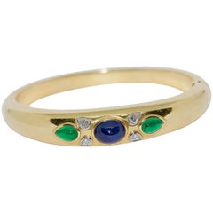 18 Karat Gold Bangle, Bracelet with Pear cut Diamonds, Sapphire and Emeralds