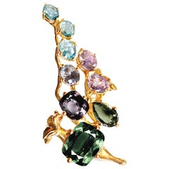 18 Karat Gold Brooch with 12 Carat Sapphires, Spinel, and Paraiba Tourmalines