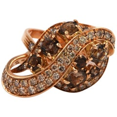 18 Karat Gold Brown Diamonds and Smoky Quartz Garavelli Modern Cocktail Ring