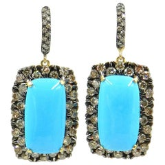 18 Karat Gold Brown Diamonds and Turquoise Garavelli Earrings