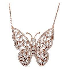 18 Karat Gold Butterfly Diamond Pendant Necklace