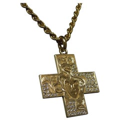 "18 Karat Gold Bvlgari ""Medusa"" Diamond Cross Pendant"