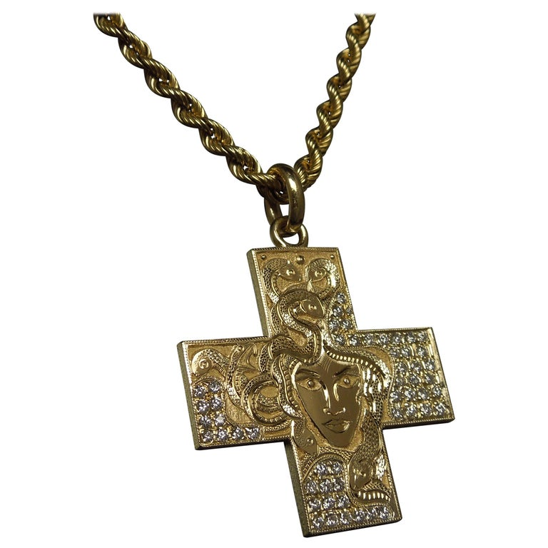 "18 Karat Gold Bvlgari ""Medusa"" Diamond Cross Pendant For Sale"