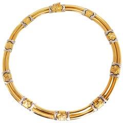 18 Karat Gold Byzantine Deco Link Necklace Two-Toned
