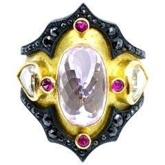 18 Karat Gold Byzantine Style Ring, Kunzite, Rubies, White and Black Diamonds