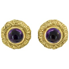 Cabochon Amethyst Yellow Gold Earrings