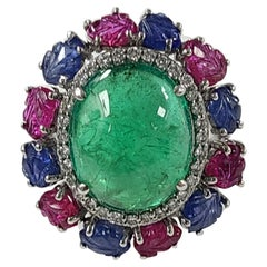 18 Karat Gold Cabochon Emerald, Carved Ruby and Blue Sapphire Cocktail Ring