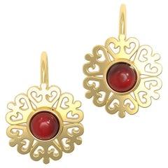 22 Karat Gold Cabochon Flower Earrings Based on an Ancient Roman Design