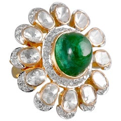 18 Karat Gold, Cabochon Zambian Emerald and Uncut Diamond Ring