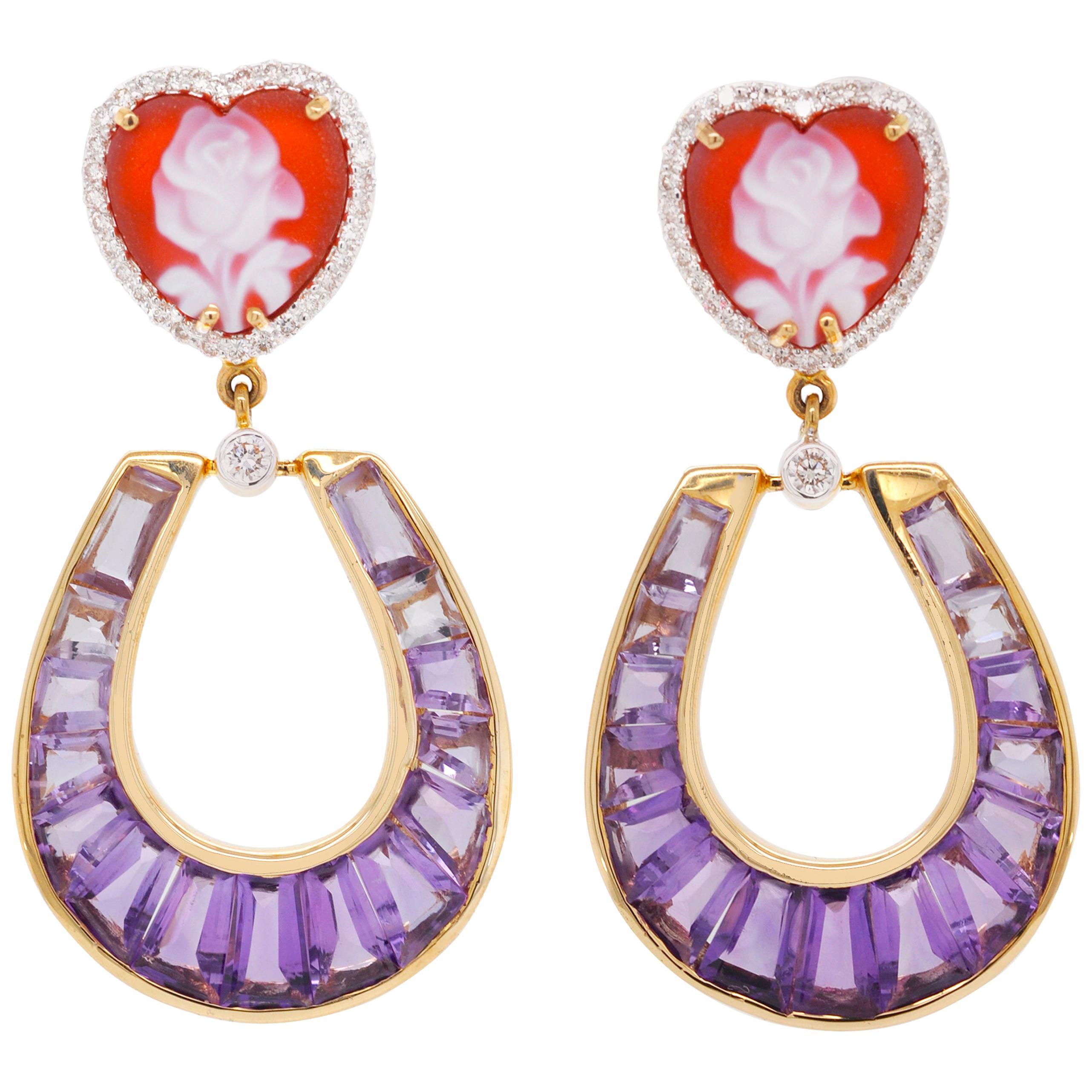18 Karat Gold Amethyst Baguette Heart Cameo Diamond Dangling Drop Earrings