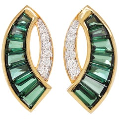 18 Karat Gold Caliber Cut Green Tourmaline Taper Baguette Diamond Stud Earrings