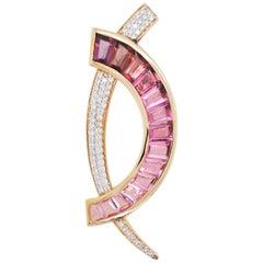 18 Karat Gold Caliber Cut Pink Tourmaline Taper Baguette Diamond Brooch Pendant
