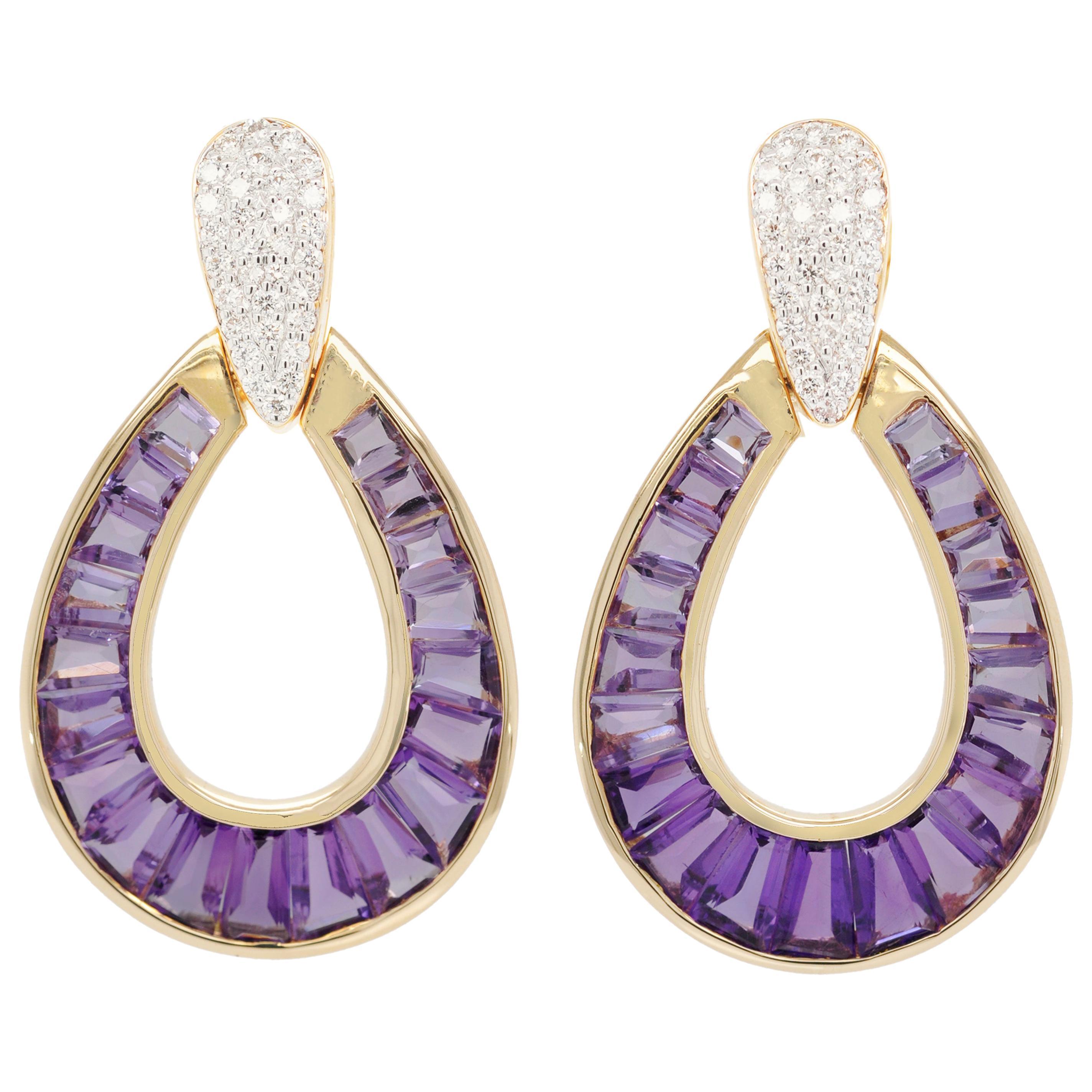 18 Karat Gold Calibre Cut Amethyst Taper Baguette Diamond Dangling Drop Earrings