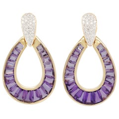 18 Karat Gold Calibre Cut Amethyst Taper Baguette Diamond Dangling Drop Earrings