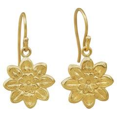 18 Karat Gold Camellias on Hooks