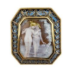18 Karat Gold Cameo Blue Stone Brooch Pendant