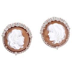 Cameo Diamond 18 Karat Gold Stud Earrings