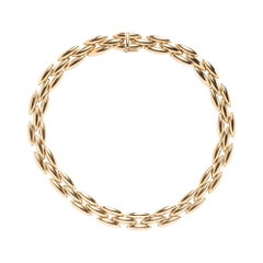 18 Karat Gold Cartier Gentiane 3-Row Rice Link Necklace