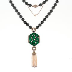 18 Karat Gold Cartier Necklace with Hematite, Pearls, Sapphire and Diamonds