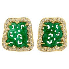 18 Karat Gold Carved Jade Diamond Stud Earrings