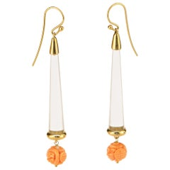 18 Karat Gold Carved Pink Coral Rock Crystal Pendulum Dangle Drop Craft Earrings
