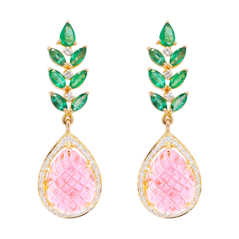 18 Karat Gold Carved Pink Tourmaline Emerald Diamond Dangler Earrings