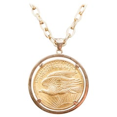 18 Karat Gold Chain and Piece Pendant Pure Gold Twenty American Dollars