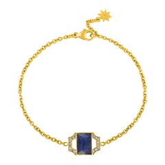 18 Karat Gold Chain Link Bracelet with Sapphire and Diamonds