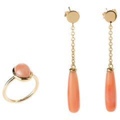 18 Karat Gold Chain Pink Coral Drop Thin Tear Earrings Round Cabochon Ring Set