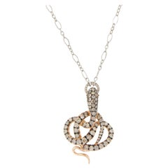 18 Karat Gold Champagne Diamond Snake Pendant Platinum Chain Necklace