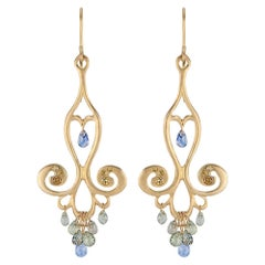 18 Karat Gold Chandelier Earrings with Blue Sapphire Teardrops and Canary Diam