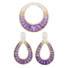 18 Karat Gold Amethyst Taper Baguette Diamond Pendant Necklace Earrings Set