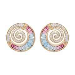 18 Karat Gold Aquamarine Pink Tourmaline Taper Baguette Diamond Clip-on Earrings