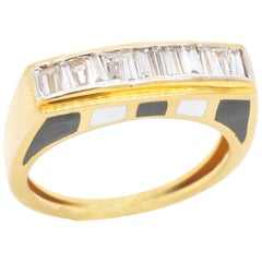 18 Karat Gold Channel Set Baguette Diamond French Enamel Contemporary Band Ring
