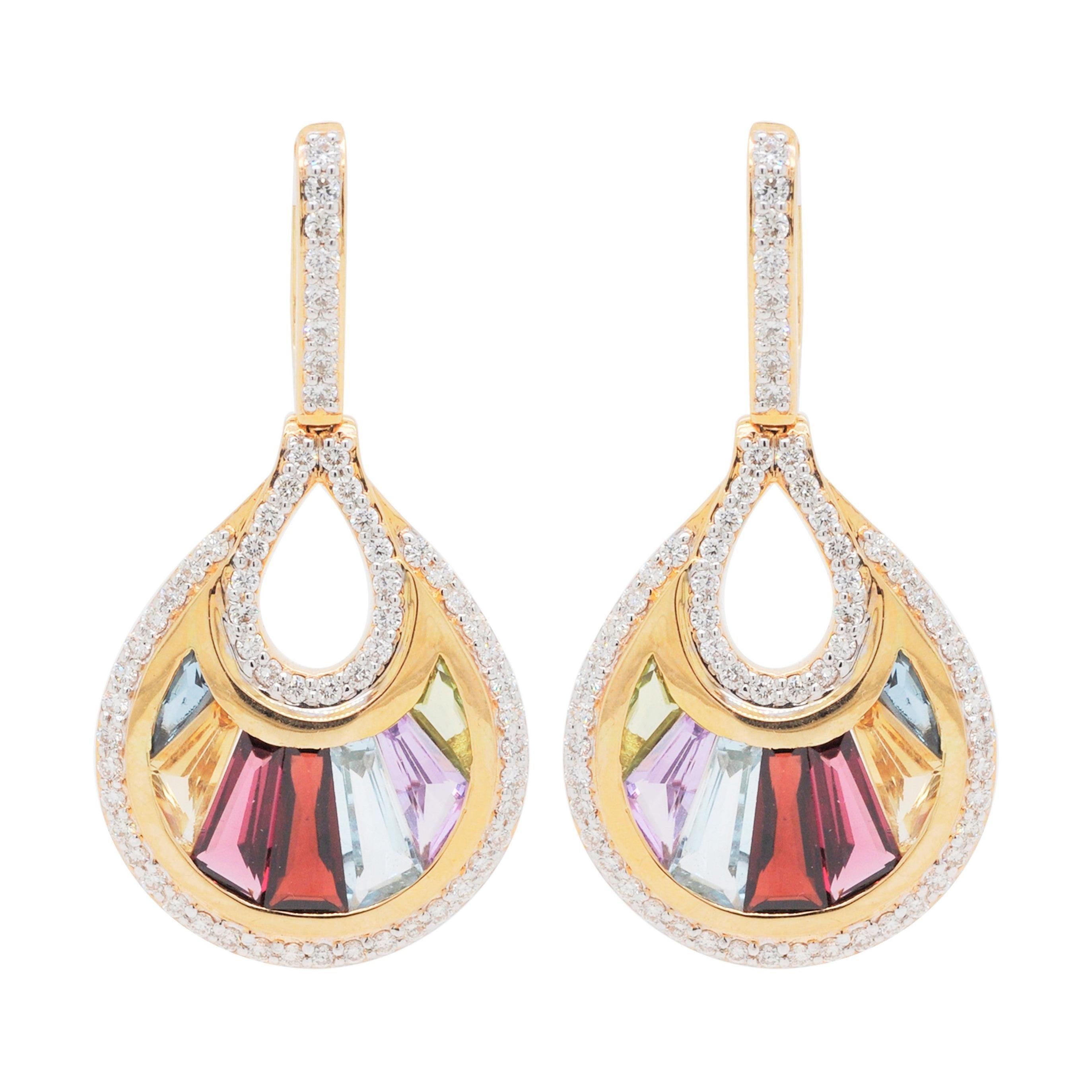 18 Karat Gold Channel Set Baguette Multi-Color Rainbow Diamond Cocktail Earrings